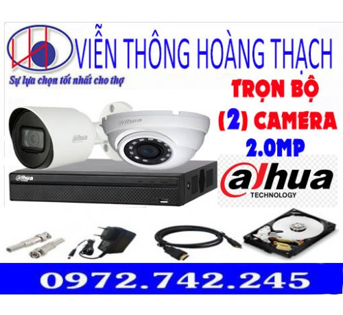 BỘ 2 CAMERA DAHUA 2.0MP H265