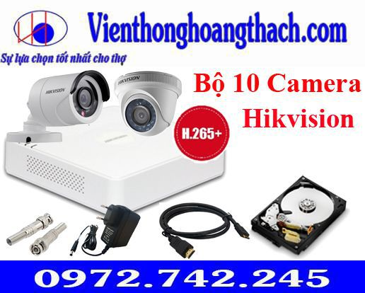 Bộ 10 camera Hikvision 2.0Mp