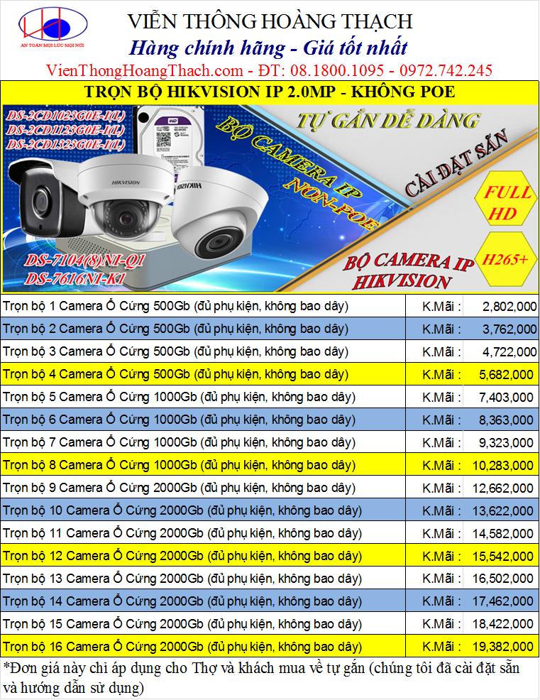Bảng giá trọn bộ camera IP hikvision 2MP