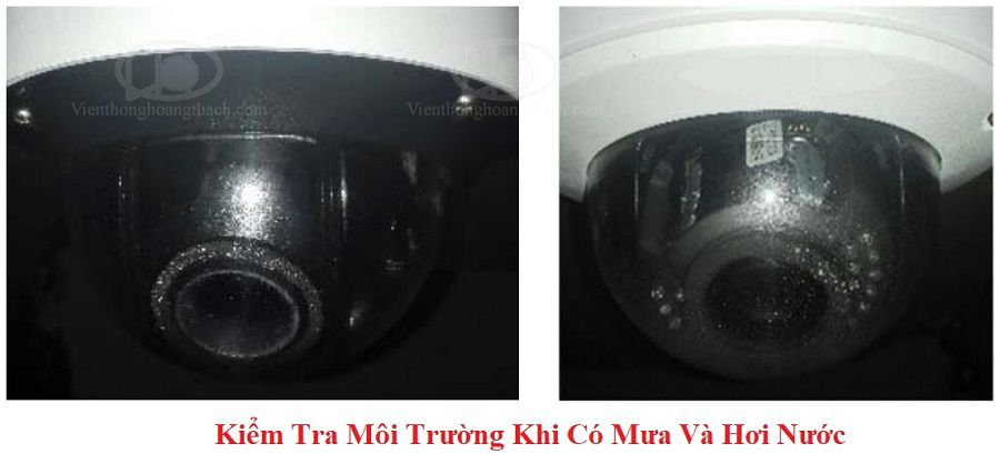 thử nghiệm Camera dome chống phản xạ khi có mưa