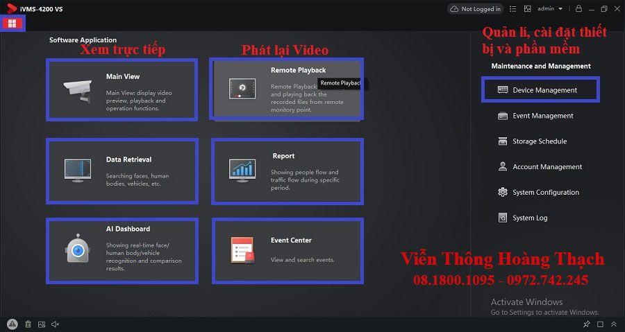 giao diện phần mềm IVMS 4200 VS