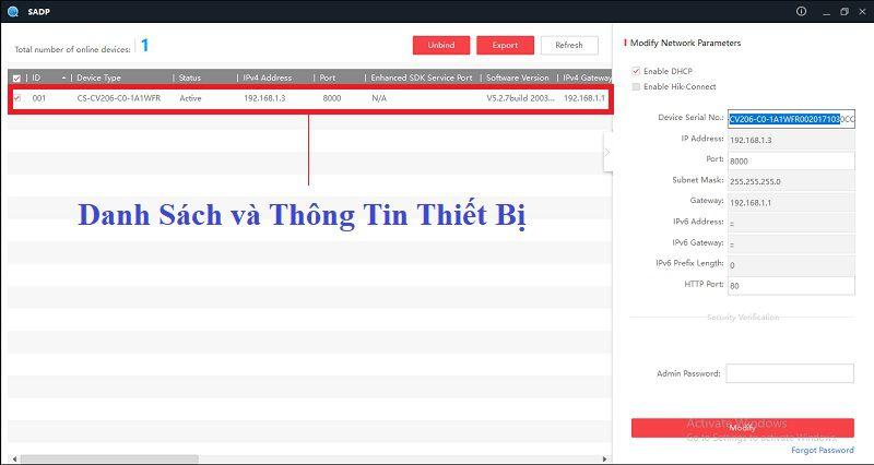 Tìm địa chỉ IP bằng phần mềm SADP Tool