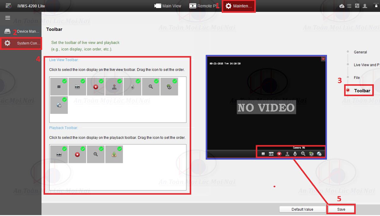 cài đặt icon trên toolbar phần mềm ivms-4200 lite