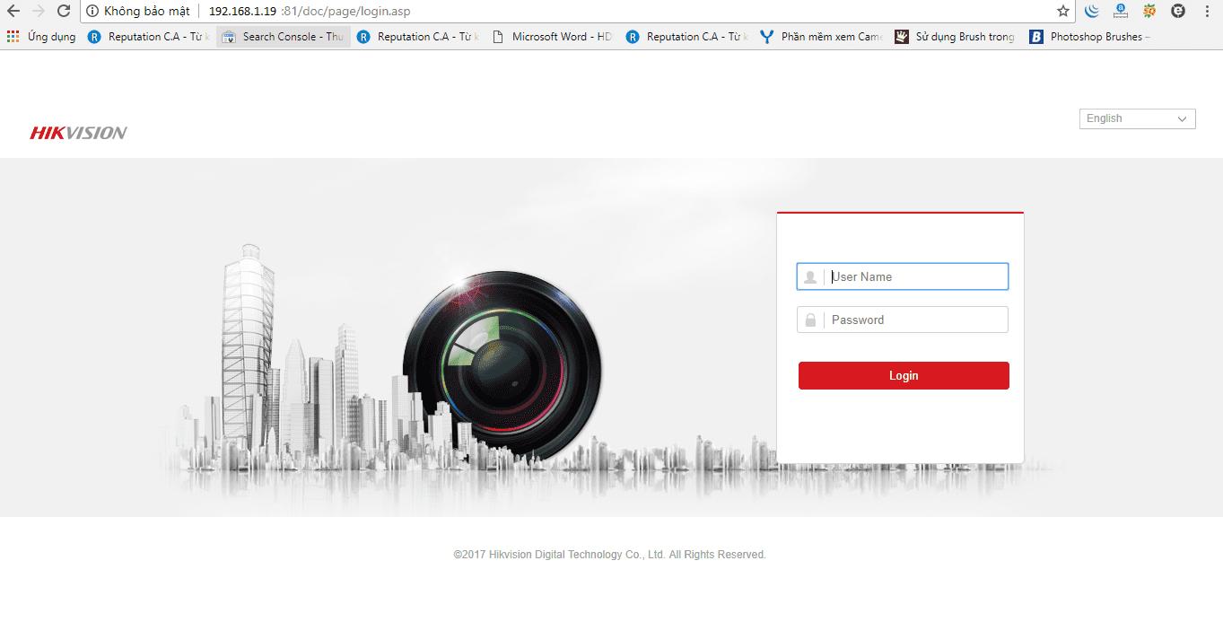 đăng nhập vào trong thiết bị