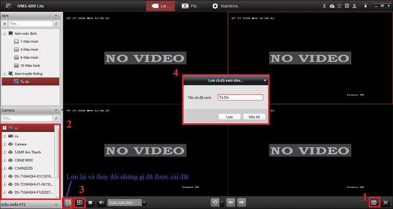 cài đặt bố cục khi xem trực tiếp camera hikvision