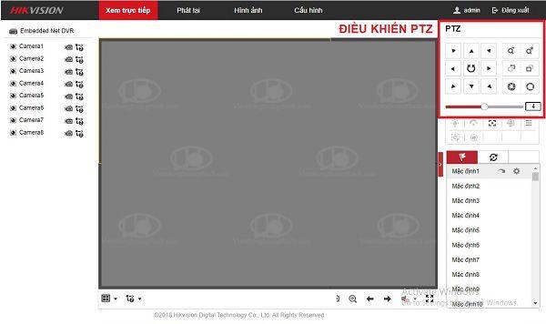điều khiển camera PTZ trên trình duyệt web