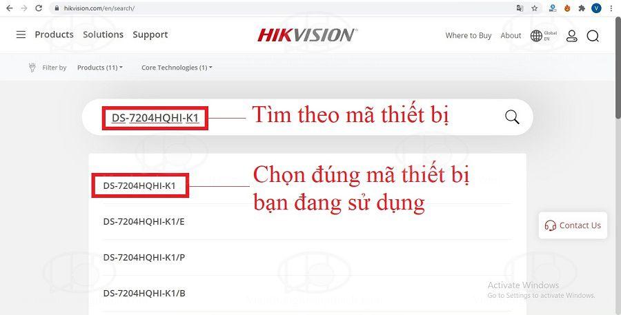 Tang chủ download firmware cho sản phẩm của Hikvision
