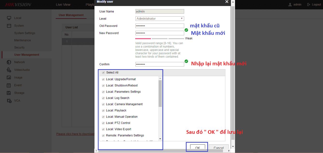 đổi mật khẩu của đầu ghi hikvision trên trình duyệt web