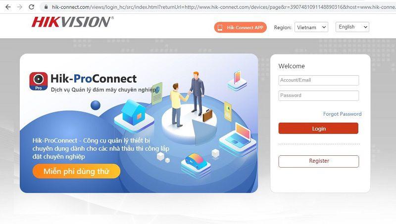 quản lí dịch vụ hik-connect trên giao diện web