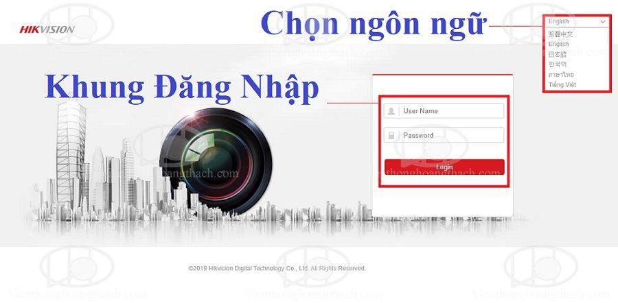 giao diện đăng nhập đầu ghi và camera IP HIKVISION