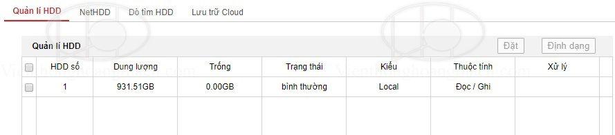 kiểm tra tình trạng và định dạng đầu thu hikvision