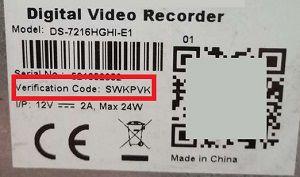 Mã xác thực Verification code của camera Hikvision
