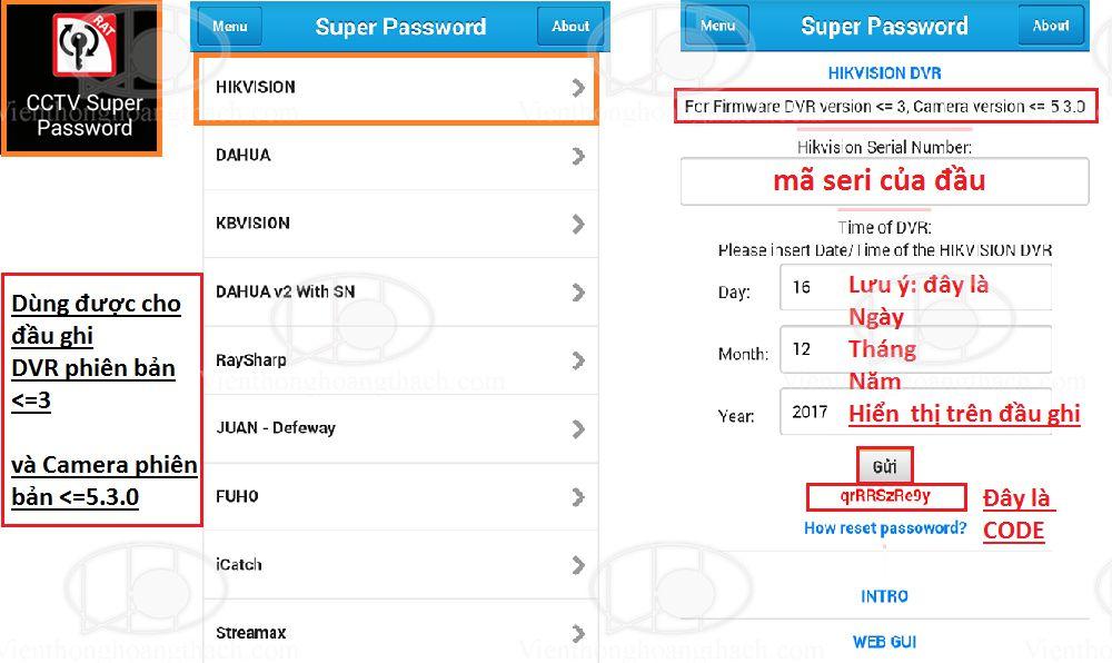 hướng dẫn reset mật khẩu đầu ghi hoặc camera Hikvision