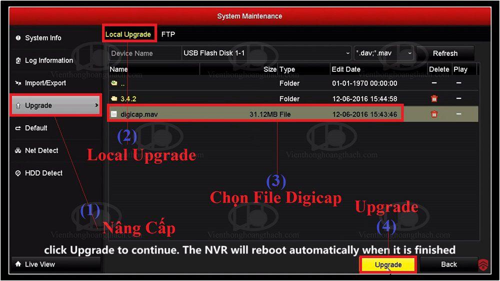 nâng cấp firmware qua màn hình trực tiếp