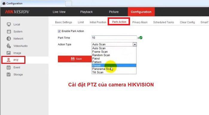 cài đặt quay quét tự động trên camera hikvision